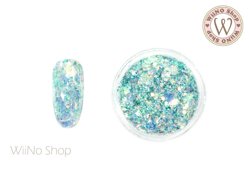 Aqua Ice Iridescent Hexagon Mixed with Glitter Dust (IR07)