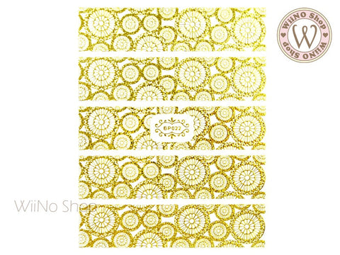 Gold Round Lace Pattern Adhesive Nail Art Sticker - 1 pc (BP022G)