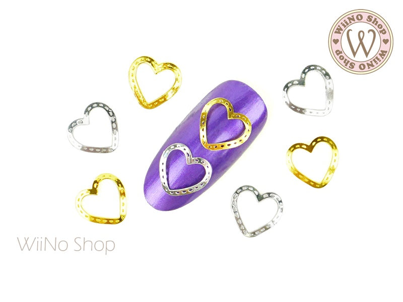 Stitched Heart Nail Metal Decoration - 5 pcs