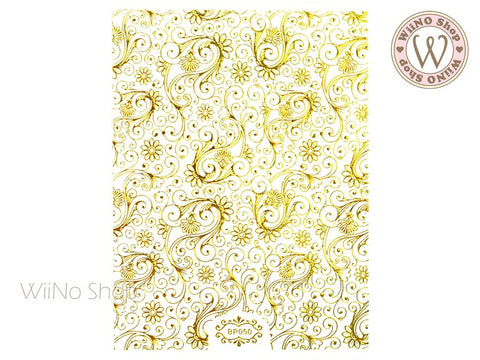 Gold Swirl Floral Pattern Adhesive Nail Art Sticker - 1 pc (BP050G)