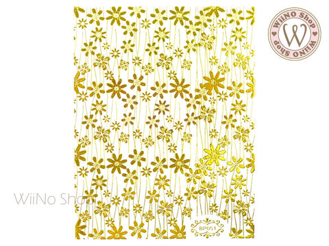 Gold Wildflower Pattern Adhesive Nail Art Sticker - 1 pc (BP051G)
