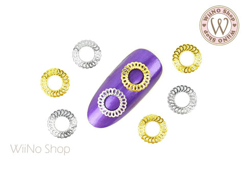 Round Lace Frame Nail Metal Decoration - 5 pcs