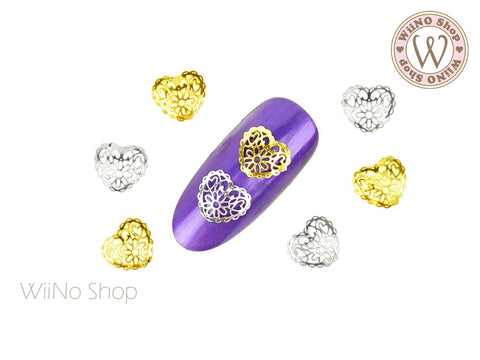 Lace Heart Nail Metal Decoration - 5 pcs