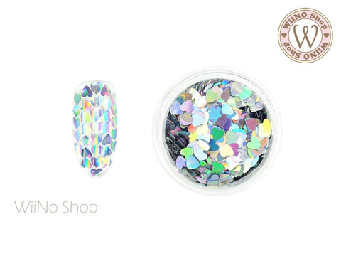 3mm Silver Holographic Heart Glitter