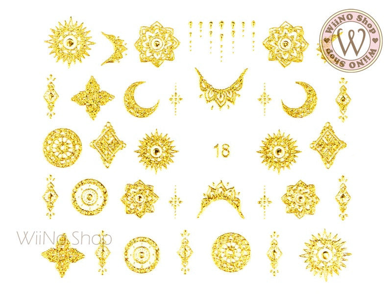 Gold Henna Pattern Adhesive Nail Art Sticker - 1 pc (J18)