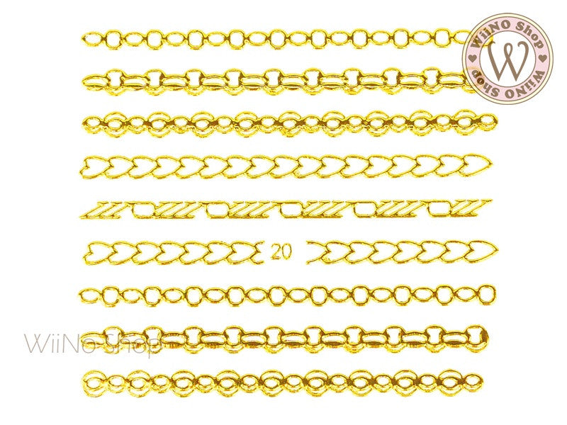 Gold Chain Adhesive Nail Art Sticker - 1 pc (J20)