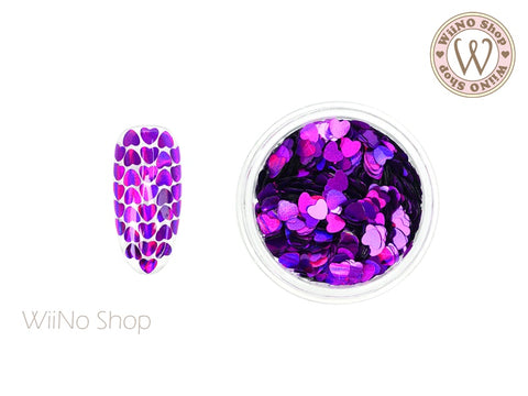 3mm Purple Holographic Heart Glitter