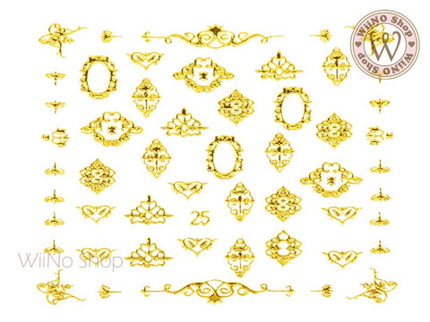Gold Lace Pattern Adhesive Nail Art Sticker - 1 pc (J25)