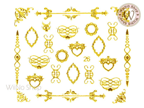 Gold Victorian Lace Pattern Adhesive Nail Art Sticker - 1 pc (J26)
