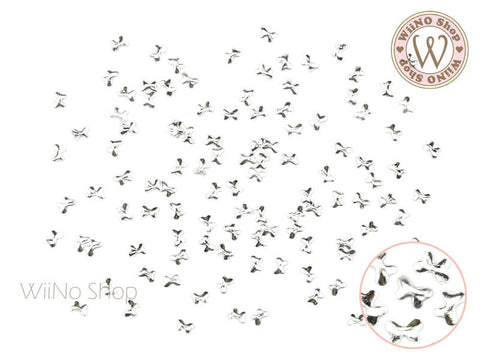 2 x 3mm Silver Butterfly Metal Studs - 25 pcs