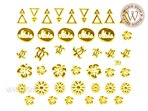Gold Summer Hawaii Adhesive Nail Art Sticker - 1 pc (J39)