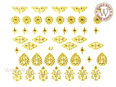 Gold Vector Pattern Adhesive Nail Art Sticker - 1 pc (J47)