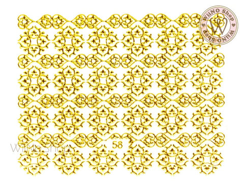 Gold Renaissance Pattern Adhesive Nail Art Sticker - 1 pc (J58)