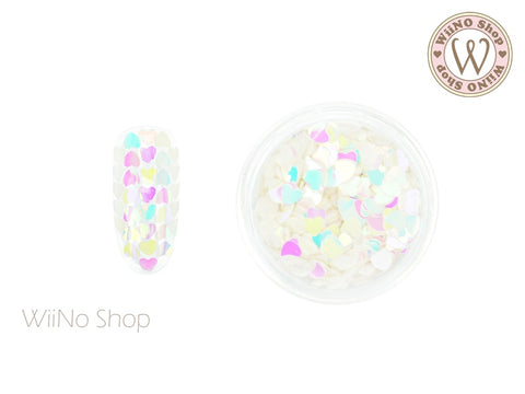 3mm Rainbow Dream White Heart Glitter