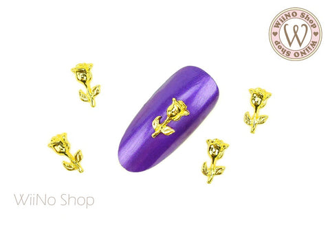 Gold Rose Nail Metal Charm - 2 pcs (RS01)