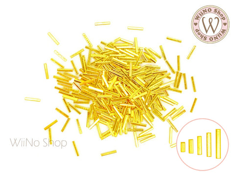Gold Square Tube Metal Studs - 50 pcs (1x2/3/4/5/6mm)