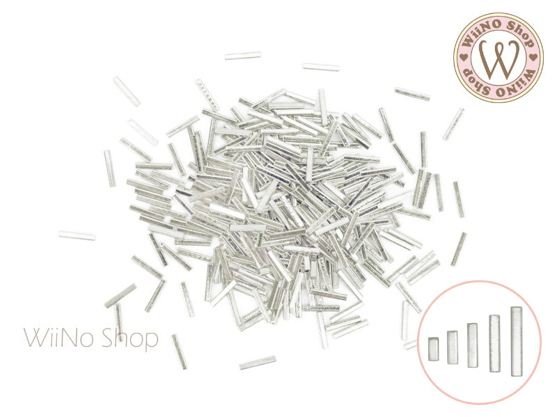 Silver Square Tube Metal Studs - 50 pcs (1x2/3/4/5/6mm)