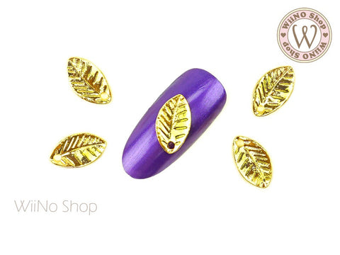Gold Leaf Nail Metal Charm - 2 pcs