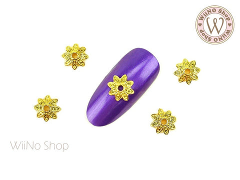 Gold Tithonia Flower Nail Metal Charm - 2 pcs
