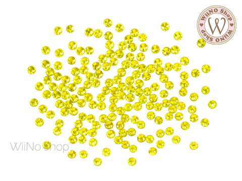 Yellow Round Flatback Crystal (ss3-ss12)