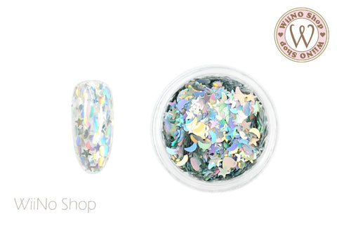 Silver Holographic Heart Star Moon Mixed Glitter (MH06)