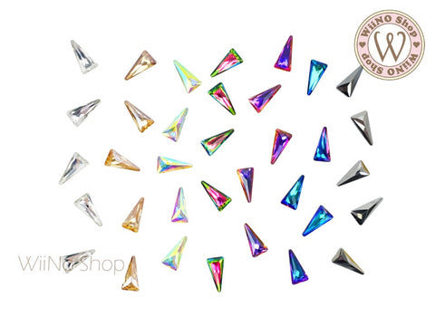 8 x 4mm Long Triangle 3D Back Crystal - 5 pcs