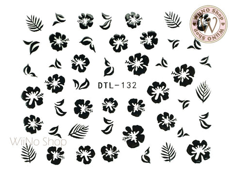 Black Hibiscus Nail Art Sticker - 1 pc (DTL-132B)