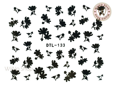 Black Floral Nail Art Sticker - 1 pc (DTL-133B)