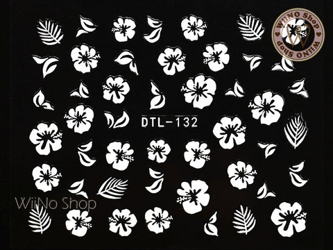 White Hibiscus Nail Art Sticker - 1 pc (DTL-132W)