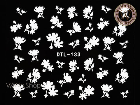 White Floral Nail Art Sticker - 1 pc (DTL-133W)