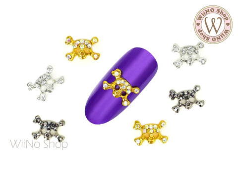 Small Skull Crossbone Nail Metal Charm - 2 pcs