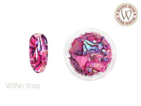 Fuchsia Natural Abalone Crushed Shell Chips Nail Art Decoration