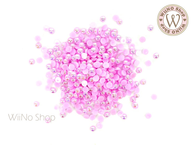 3mm AB Light Purple Half Round Pearl - 100 pcs