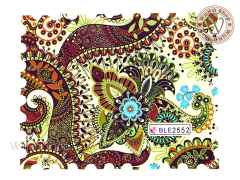 Paisley Pattern Water Slide Nail Art Decals - 1pc (BLE2552)