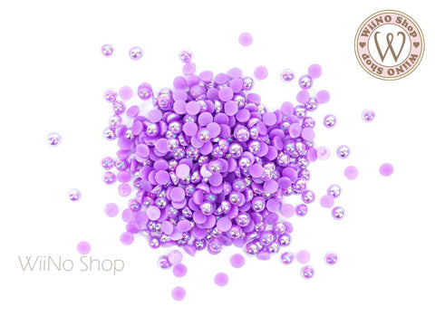 3mm AB Purple Half Round Pearl - 100 pcs