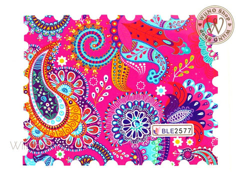 Paisley Pattern Water Slide Nail Art Decals - 1pc (BLE2577)