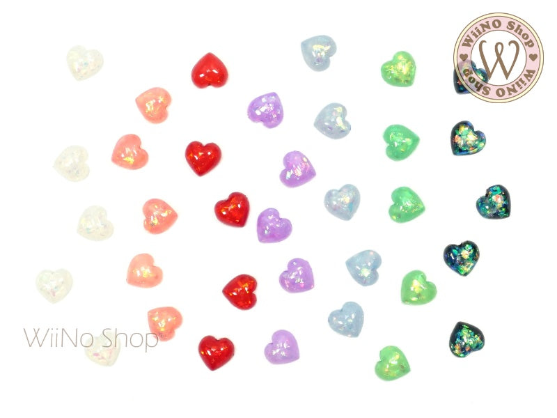 6mm Sparkle Heart Flatback Nail Art Cabochon - 10 pcs