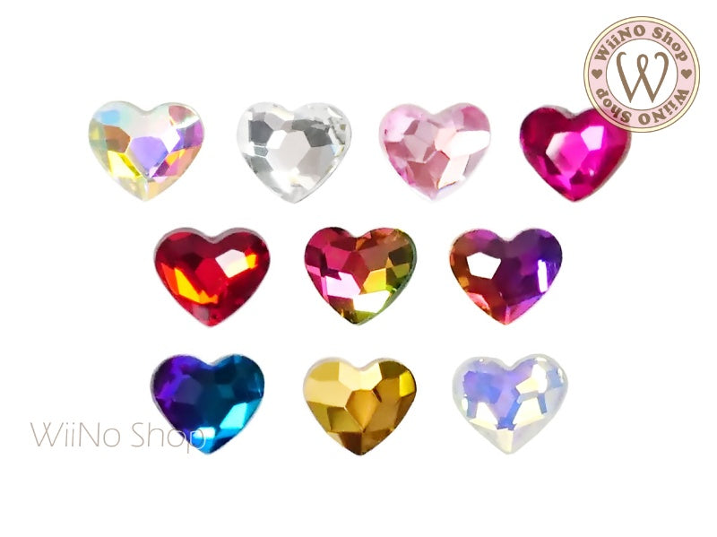 5 x 6mm Heart Flatback Crystal - 5 pcs