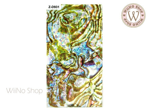 Z-D931 Holographic Seashell Style Adhesive Nail Art Sticker - 1 pc
