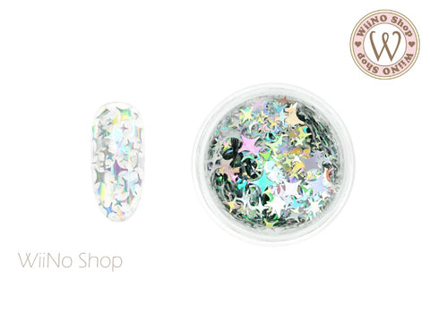 Silver Holographic Cross Star Mix Sizes Glitter (CSX02)