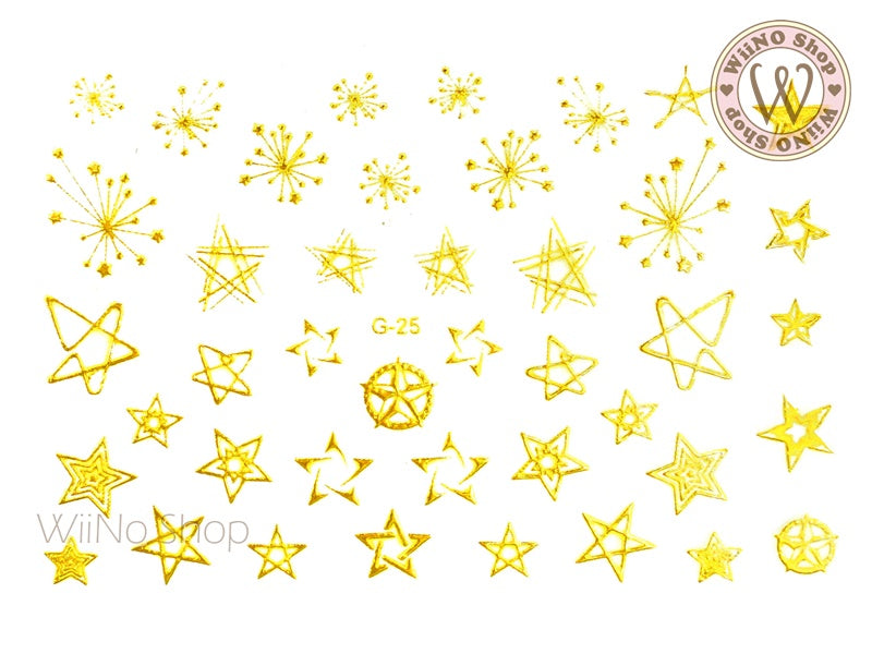 Gold Star Adhesive Nail Art Sticker - 1 pc (G-25)