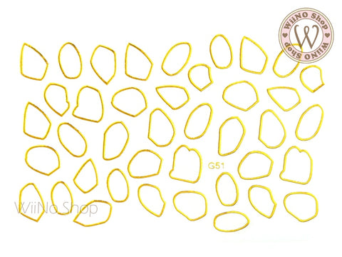 Gold Irregular Frame Adhesive Nail Art Sticker - 1 pc (G-51)
