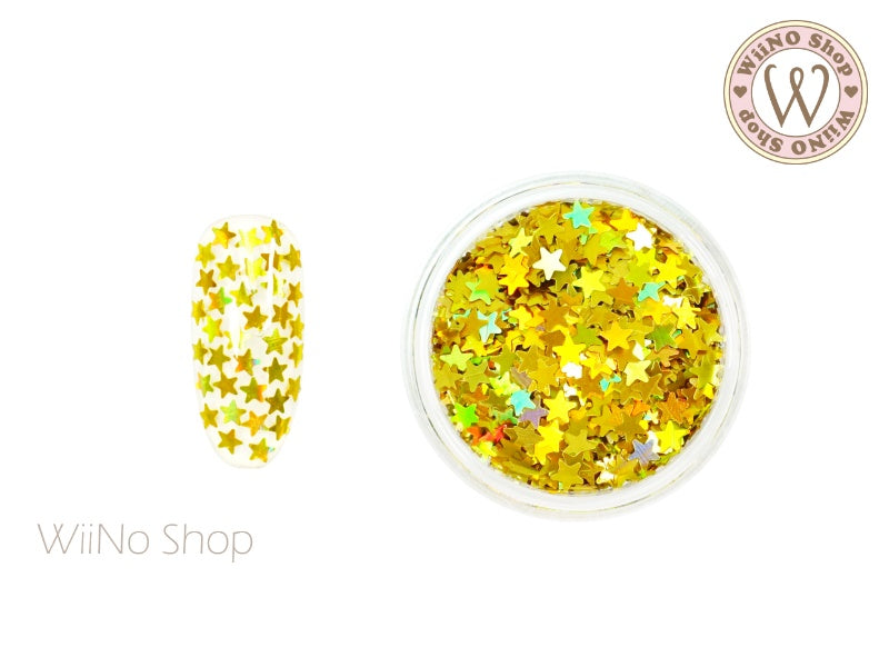 3mm Gold Holographic Star Nail Art Glitter