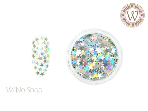 3mm Silver Holographic Star Nail Art Glitter