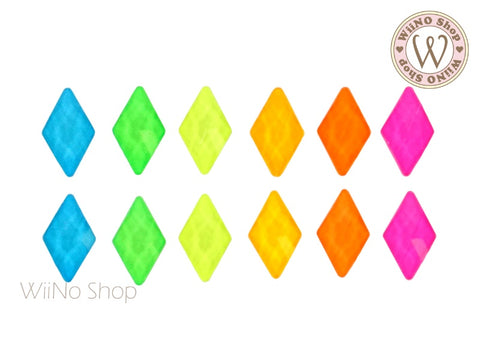 6 x 10mm Diamond Shape Neon Flatback Crystal - 5 pcs