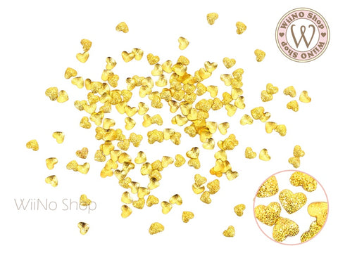 Gold Textured Heart Metal Studs - 25 pcs (2.2mm/3mm)