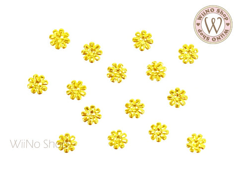 Gold Daisy Metal Studs - 10 pcs