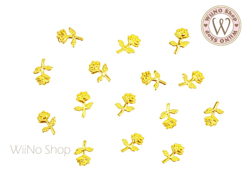 Gold Rose Metal Studs - 10 pcs