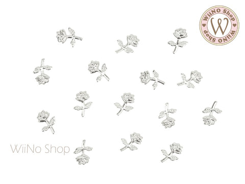 Silver Rose Metal Studs - 10 pcs