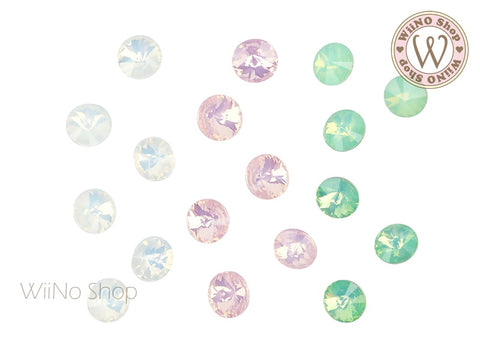 6mm 8mm Opal Round Rivoli Point Back Crystal - 5 pcs